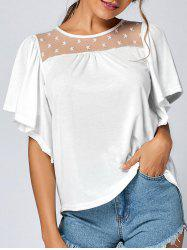 Mesh Panel Butterfly Sleeve Top