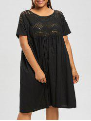 Plus Size Openwork  Knee Length Smock Dress
