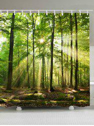 Sunlight Forest Tree Waterproof Fabric Shower Curtain - GREEN