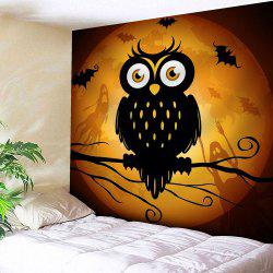 Waterproof Velvet Owl Moon Halloween Tapestry