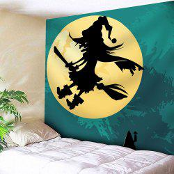 Halloween Witch Moon Waterproof Velvet Tapestry