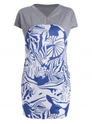 Printed Panel Plus Size Tunic T-shirt