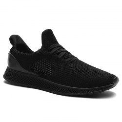 Lace Up Mesh Breathable Athletic Shoes - BLACK