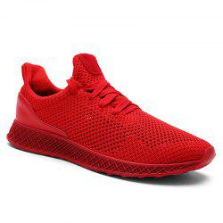 Lace Up Mesh Breathable Athletic Shoes - RED