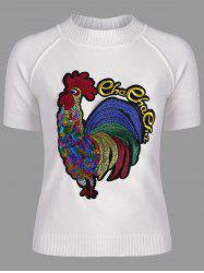 Cock Embroidered Crew Neck Sweater