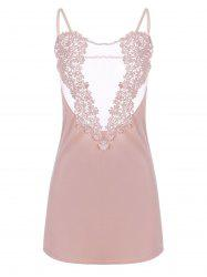 Sheer Embroidered Satin Slip Dress