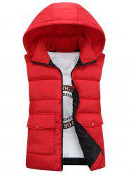 Detachable Hooded Pockets Padded Waistcoat