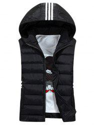 Stripe Design Detachable Hooded Padded Waistcoat