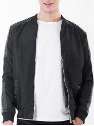 Rib Stand Collar Zip Up PU Leather Panel Jacket - BLACK