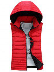 Zip Up Waistcoat rembourré à capuche détachable - Rouge 2XL
