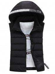 Graphic Embellished Detachable Hooded Padded Waistcoat