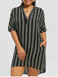 Casual Knee Length Plus Size Pockets High Low Stripe Shirt Dress