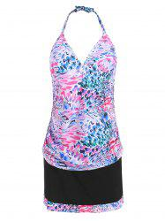 Printed Halter Padded Plus Size Bathing Suit