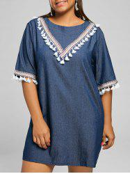 Tassel Panel Plus Size Chambray Tunic Dress