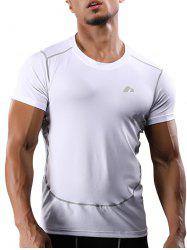 Suture Short Sleeve Quick Dry Stretchy Gym T-shirt - WHITE 2XL