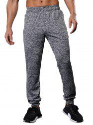 Zipper Pockets Drawstring Beam Feet Stretchy Gym Pants - GRAY