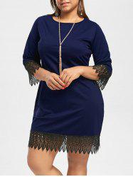 Crochet Panel Plus Size Knee Length Dress