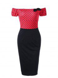 Polka Dot Off Shoulder Tight Fitted Gaine Robe - Rouge