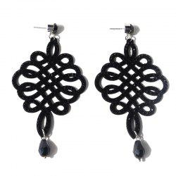 Rhinestone Teardrop Chinese Knot Earrings