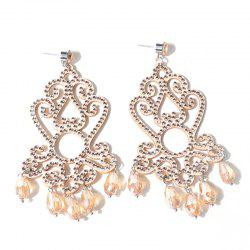 Rhinestone Teardrop Crown Chandelier Earrings