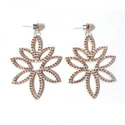 Acrylic Rhinestone Leaf Flower Earrings
