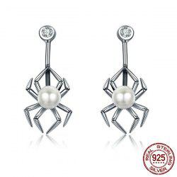 Sterling Silver Rhinestone Spider Ear Jackets