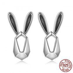 Sterling Silver Geometric Rabbit Stud Earrings