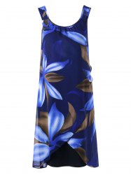 Floral Sleeveless Overlap Flapper Dress