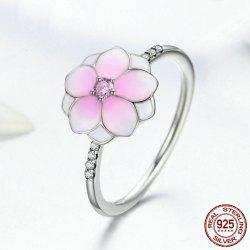 Sterling Silver Rhinestone Flower Ring