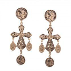 Engraved Coin Statement Cross Chandelier Earrings