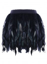 Elastic Waist Feather Decorated Skirt