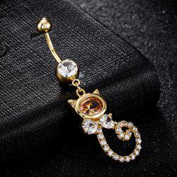 Bouton de nombril de forme de chat en incrustation de strass - Champagne