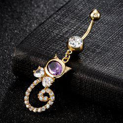 Rhinestone Inlay Cat Shape Navel Button - PURPLE