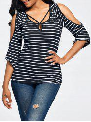 Cold Shoulder Cut Out Striped T-shirt
