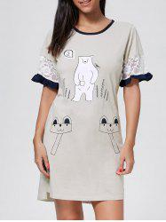 Lace Sleeve Bear Print Cotton Pajama Dress