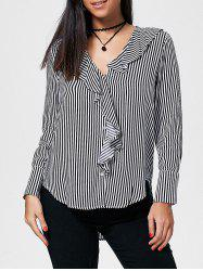 Striped Flounce High Low Shirt