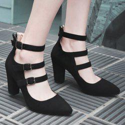 Zipper Buckle Straps Block Heel Pumps
