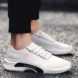 Breathable Faux Leather Tie Up Casual Shoes