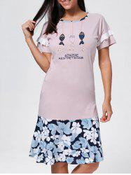 Floral Embroidered Shift Cotton Sleep Dress