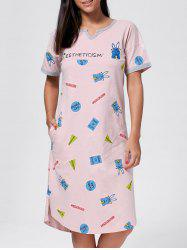 Rabbit Print Slit Cotton Pajama Dress