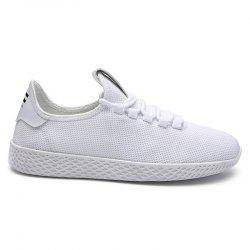 Mesh Lace Up Breathable Casual Shoes - WHITE