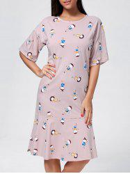 Long Printed Flounce Cotton Pajama Dress