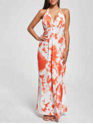 Halter Printed Maxi Backless Summer Dress - ORANGE XL