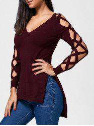 Cutout Criss Cross High Low Slit Sweater