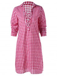 Tartan Print Criss Cross Plunging Shirt Dress
