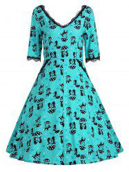 V Neck Kitten Print A Line Vintage Dress