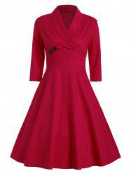 Vintage Shawl Collar A Line Party Dress