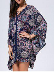 Lace Up Printed Kaftan Dress -