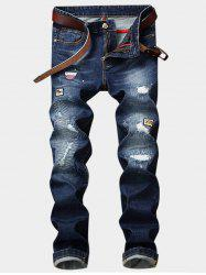 Appliques Zipper Fly Straight Leg Ripped Jeans