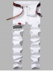 Rose Graphic Embroidered Zipper Fly Stripe Jeans